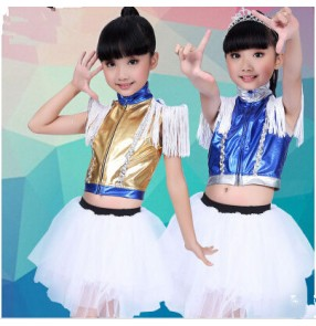 Girls kids children child royal blue and white gold and white patchwork modern dance stage performance jazz dance dresses set costumes clothes dance wear