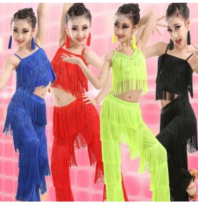 Girls kids children child royal blue neon green purple black red fringe tassels competition latin salsa cha cha dance top and pants costumes dress set