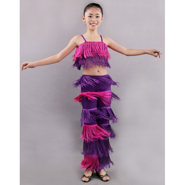 45aa6835d Girls kids children child royal blue neon green purple black red fringe  tassels competition latin salsa cha cha dance top and pants costumes dress  set