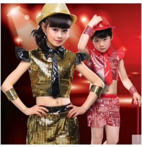 Girls kids children child sequined paillette top and shorts modern dance stage performance dance costumes clothes set