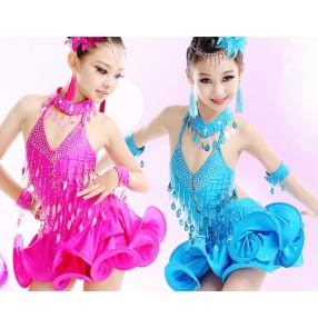 Girls kids children child turquoise fuchsia competition professional exercises latin dresses samba salsa dresses 110-170cm