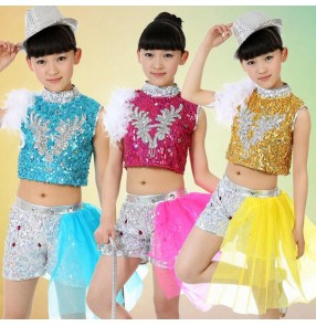 Girls kids children child turquoise fuchsia yellow gold sequined paillette modern dance stage performance jazz dance costumes dresses sets
