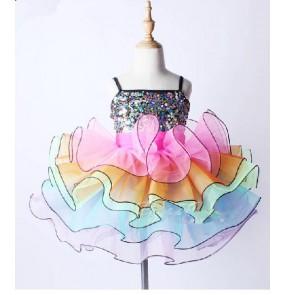 Girls kids children colorful paillette tutu skirt ballet dance dress