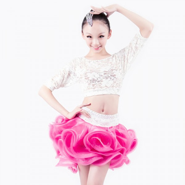 7345095d8 Girls kids children competition dance white lace top and fuchsia skirt  latin dance dress set
