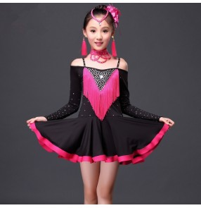 Girls kids children diamond  fuchsia red black patchwork tassels long sleeves off shoulder latin ballroom dance dress 120-155cm