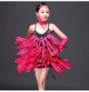 Girls kids children flying tassel fuchsia red and black diamond  patchwork competition latin salsa dance dress