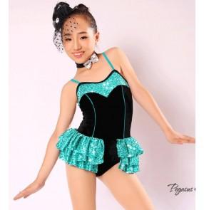 Girls kids children fuchsia blue and black sequined patchwork tutu skirt ballet dance dress