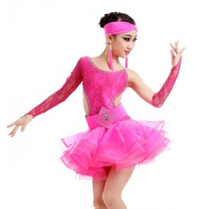 Girls kids children long sleeves lace latin dance dress backless royal blue yellow fuchsia