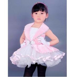 Girls kids children pink velvet and white tutu skirt ballet dance dress skating dress