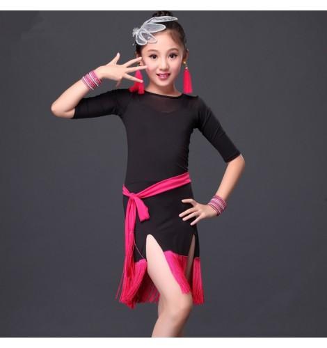 58ec724f1 Girls kids children royal blue black fuchsia patchwork with sashes middle long  sleeves tassel hem side split latin dance dresses 110-155cm