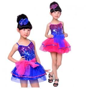 Girls kids children royal blue fuchsia patchwork sequined paillette strap shoulder modern dance ballet dance dresses dancewear