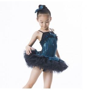 Girls kids children sequined leotard tutu skirt ballet dance dress