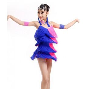 Girls kids children tassel blue and hot pink patchwork latin dance dress backless