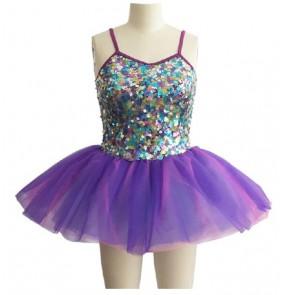 Girls kids children tutu skirt violet with sequined patchwork ballet dance dress
