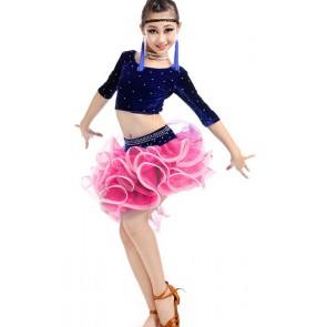 Girls kids children velvet organza latin dance dress top and skirt rose pink royal blue red black