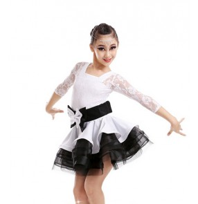 Girls kids children white and black patchwork lace long sleeves latin dance dress