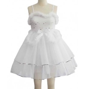 Girls kids children white sequined ballet dance dress leotard tutu skirt