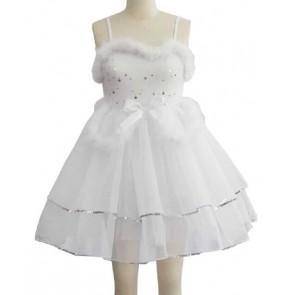 Girls kids children white sequined ballet dance dress leotard tutu skirt