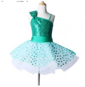 Girls kids green children sequined ballet dance dress tutu skirt leotard