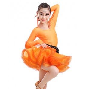 Girls kids latin dance dress orange hot pink green