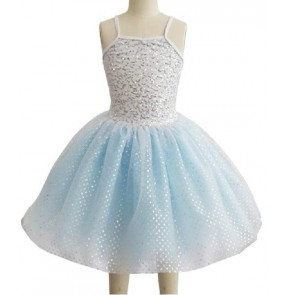 Girls kids light blue tutu skirt ballet dancing dress