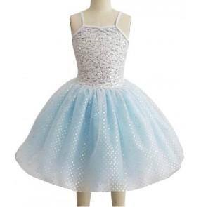 Girls kids light blue tutu skirt ballet dancing dress