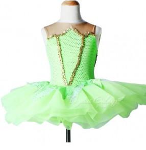 Girls kids neon green ballet dance dress leotard skirt