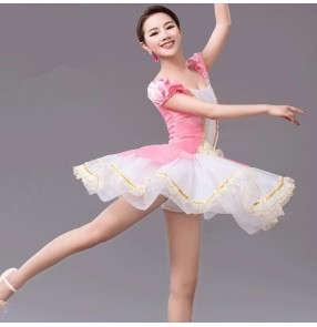 Girls Kids pink and white patchwork ballet dancing dress
