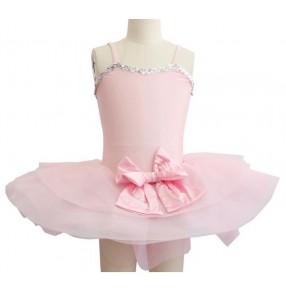 Girls kids pink ballet dance dress leotard skirt