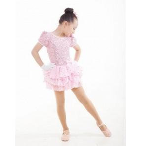 Girls kids pink paillette tutu skirt short sleeves leotard ballet dance dress