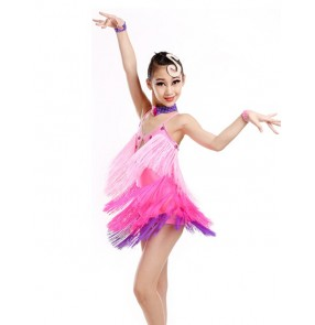 Girls kids tassel latin dance dress long tassel yellow orange fuchsia