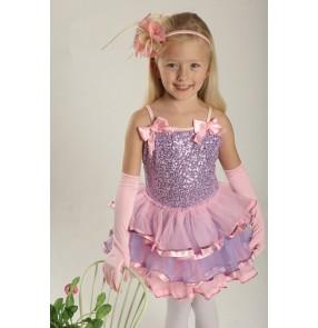 Girls KIDS TUTU leotard skirt sequined ballet dancing dress