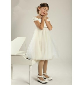Girls  kids white long ballet dance dress