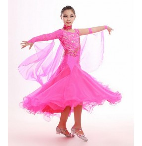 Girls kids yellow violet fuchsia lace long length competition professional full skirted high quality ballroom dance dresses waltz tango dance dress