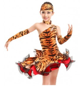 Girls leopard zebra tiger printed latin dance dress