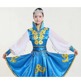 Girls Mongolian costume dance clothes Chinese minority clothing apparel Mongolia clothes dance costume dresses stage