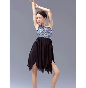 Girls one shoulder sequined and chiffon tutu skirt ballet dance dress