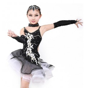 Girls Patchwork backless latin dance dress white black red