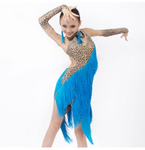 Girls salsa professional long tassel competition latin dance dress turquoise with leopard color
