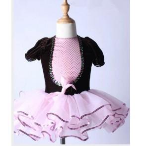 Girls velvet short sleeves ballet dance dress tutu skirt