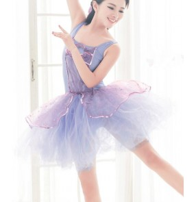 Girls women adult ballet dance dress violet