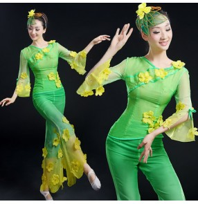 Girls women's female ladies gradient green long sleeves flower chinese folk dance costumes fans dance stage performance dance wear