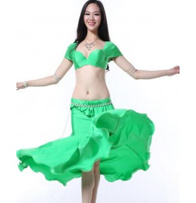 Girls women's neon green violet wine red fuchsia high quality professional belly dance costumes set bra top and skirt stage performance dance wear