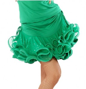 Girls Women's ruffles short latin dance skirt green red yellow