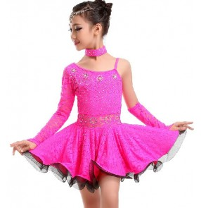 Girls yellow fuchsia green ruffles hem with gloves latin dance dress