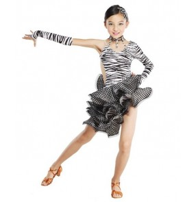 Girls Zebra Spandex Diamante Latin Dance Dress Ballroom Dance Dress Latin Girls