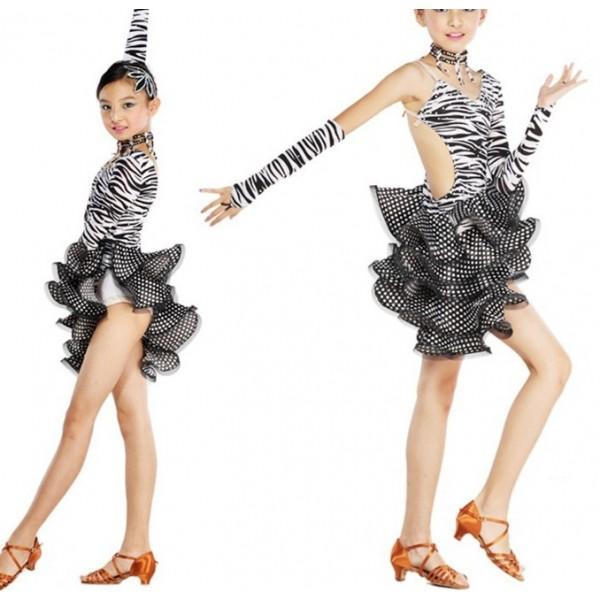 c83816843 Girls Zebra Spandex Diamante Latin Dance Dress Ballroom Dance Dress ...