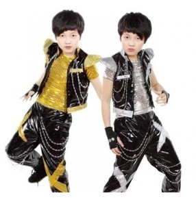 Gold black sequined 3pieces in one boys toddlers children child kids kindergarten modern dance jazz dance hip hop street dance stage performance play t show costumes clothes