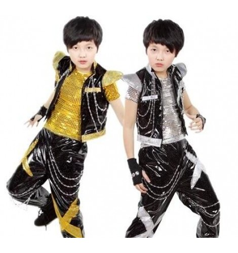 Gold Black Sequined 3pieces In One Boys Toddlers Children