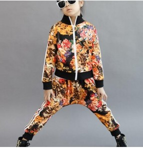 Gold blue  floral printed girls boys kids children fashion Korean style performance hip hop jazz school play dancing outfits costumes
